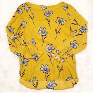 LOFT mustard yellow long sleeve blouse floral S